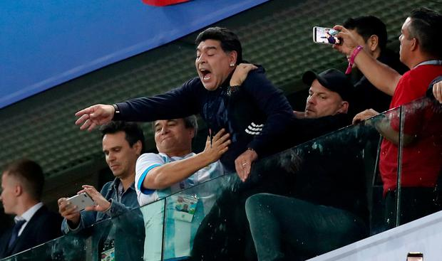 Diego Armando Maradona celebrates Argentina's victory following the 2018 FIFA World Cup Russia group D match between Nigeria and Argentina at Saint Petersburg Stadium on June 26, 2018 in Saint Petersburg, Russia. (Photo by Alex Morton/Getty Images)