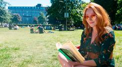 Alana Phelan enjoys the sunny weather in Galway's Eyre Square. Picture: Xposure