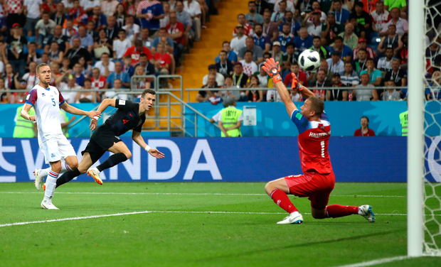 Croatia's Ivan Perisic scores the winner against Iceland at the Rostov Arena, in Rostov-on-Don