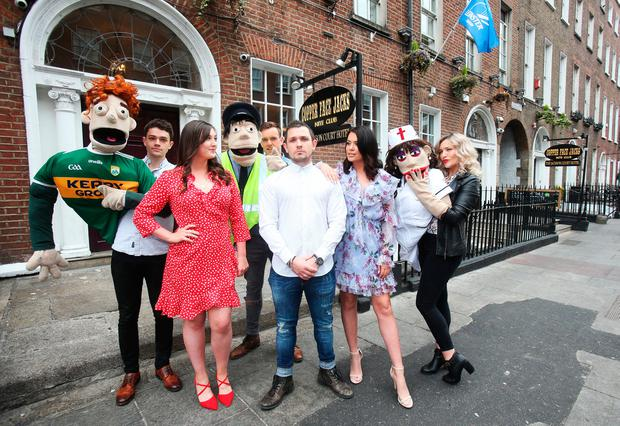 Johnny Ward with the cast of Copper Face Jacks: The Musical. Photo: Leon Farrell/Photocall Ireland.
