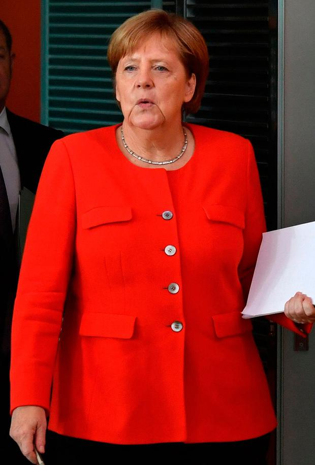 German Chancellor Angela Merkel arriving for a weekly cabinet meeting. Photo: AFP Photo