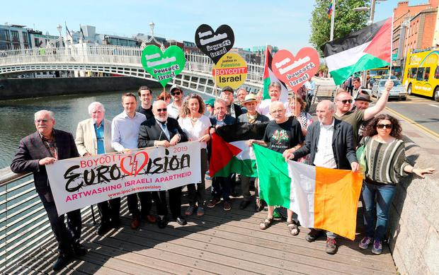 Celebrities and public figures launch the Irish campaign to boycott Eurovision 2019 to be held in Jerusalem Israel at the Ha'penny Bridge in Dublin Niall Carson/PA Wire