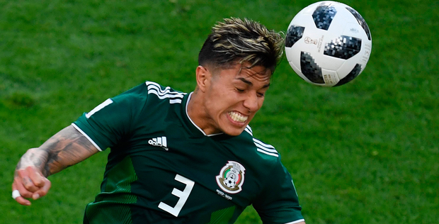 Mexico's Carlos Salcedo heads the ball. Photo: Getty Images