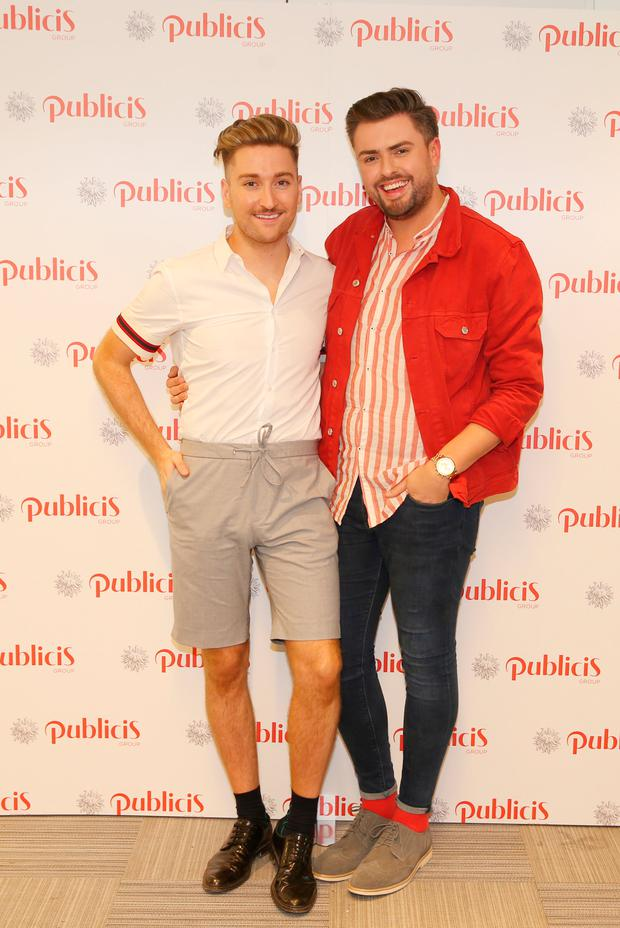 Rob Kenny and James Patrice at the Publicis Dublin summer rooftop party. Picture: Leon Farrell / Photocall Ireland