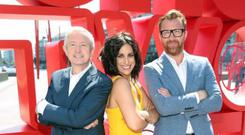 Louis Walsh, Lucy Kennedy, Jason Byrne at the launch of TV3's autumn schedule and rebranding at the Bord Gais Energy Theatre. PIC: Brian McEvoy