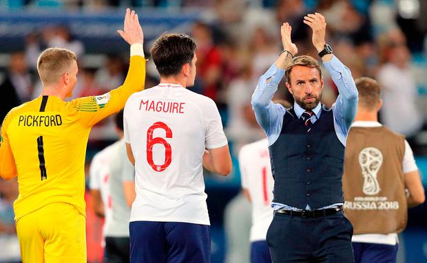 England manager Gareth Southgate applauds the fans after their defeat to Belgium in Kaliningrad last night. Photo: PA