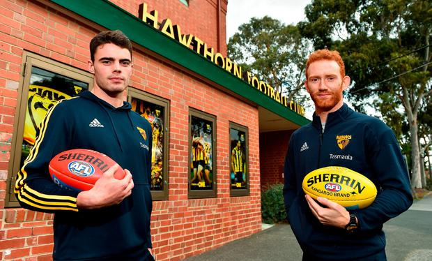 Conor Nash and Conor Glass outside Glenferrie Oval, the old spiritual home of the Hawthorn AFL team. Photo: Brendan Moran/Sportsfile