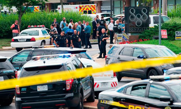 Police respond to the shooting in Annapolis, Maryland. Photo: AFP/Getty Images
