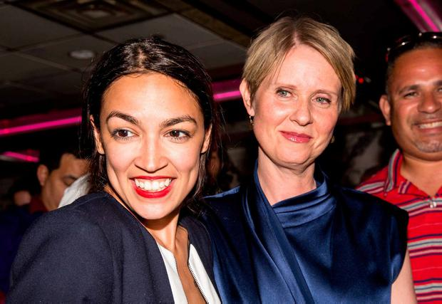 Actress Cynthia Nixon joined Alexandria Ocasio-Cortez for her victory celebration. Photo: Scott Heins/Getty Images