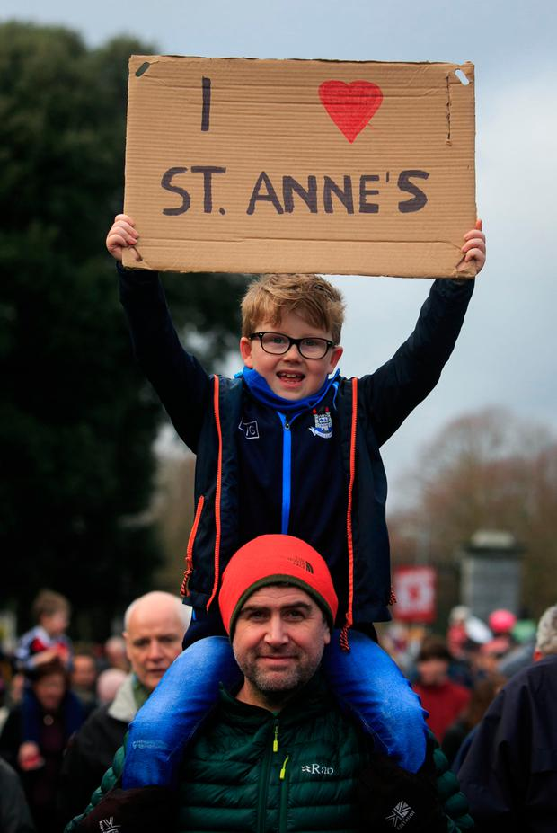 Paul and Jack Maher (7) from All Saints Park during a protest walk over the proposed housing development next to St Anne's Park in Raheny. Picture: Collins
