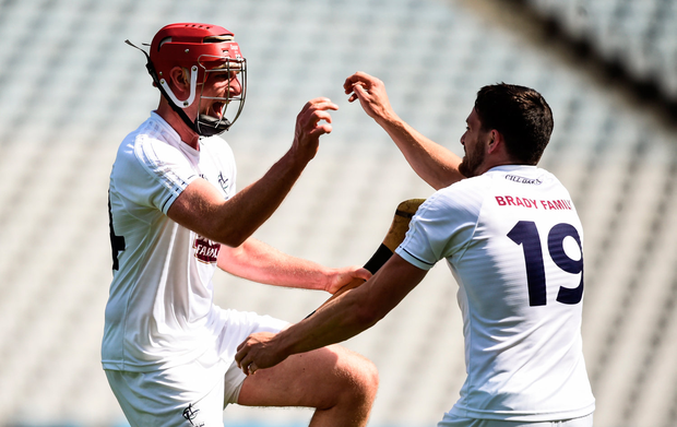 23 June 2018; Mark Delaney, left, and Bernard Deay of Kildare celebrate at the final whistle following the Christy Ring Cup Final match between London and Kildare at Croke Park in Dublin. Photo by David Fitzgerald/Sportsfile
