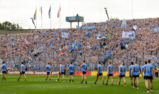 The Dublin team parade in front of Hill 16 before the 2017 GAA Football All-Ireland Senior Championship Semi-Final match against Tyrone at Croke Park.