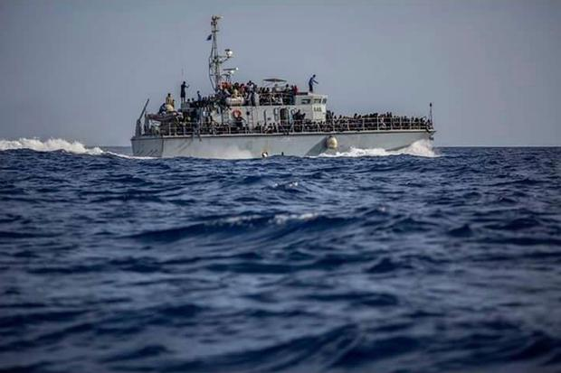This Sunday, June 24, 2018 photo released by the Libyan Coast Guard shows migrants on a ship intercepted offshore near the town of Gohneima, east of the capital, Tripoli. Spokesman Ayoub Gassim said. (Libyan Coast Guard via AP)