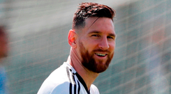 Lionel Messi in relaxed mood. Photo: Ricardo Mazalan