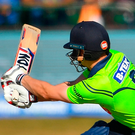 Ireland's William Porterfield is bowled out by Umesh Yadav of India during yesterday's T20 International at Malahide Cricket Club. Photo: Sportsfile