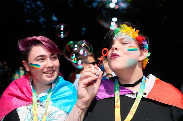 People during the Pride Parade in Dublin Photo: Brian Lawless/PA Wire