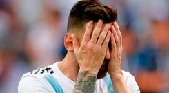 Argentina's Lionel Messi reacts during the round of 16 match between France and Argentina