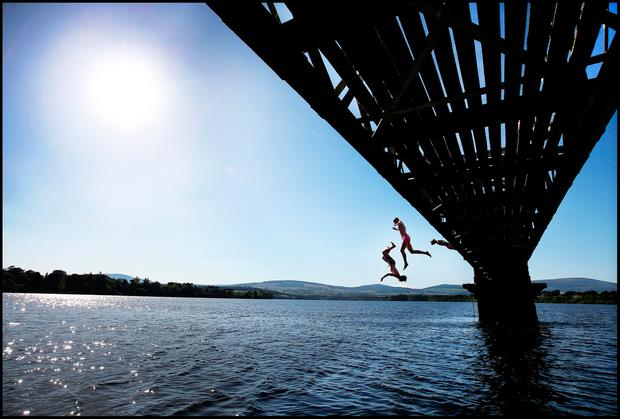 Cooling off at the Vartry Reservoir in Co Wicklow. Photo: Steve Humphreys
