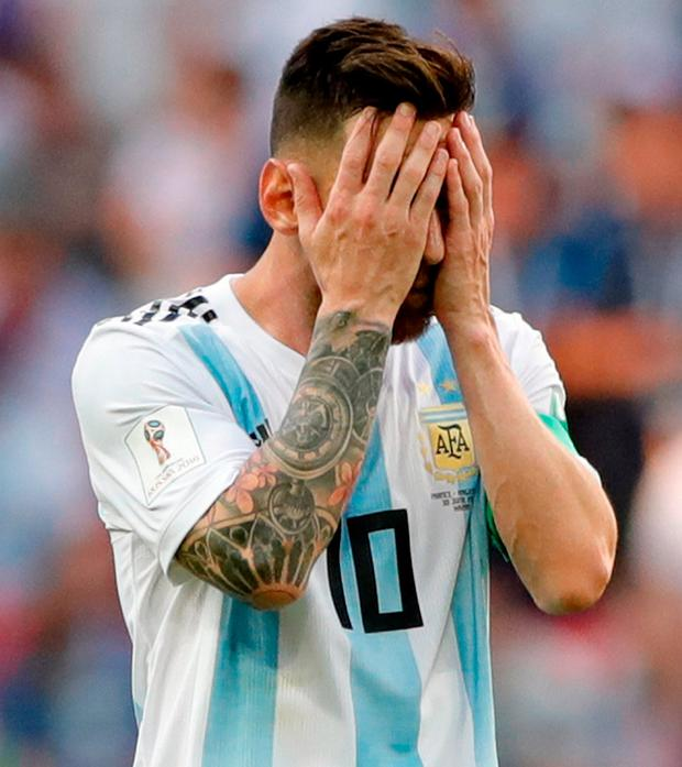 Argentina's Lionel Messi reacts. Photo: Ricardo Mazalan/AP