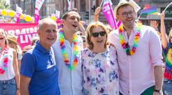 former President Mary McAleese, her husband Martin, her son Justin and his husband, Fionan. Photo: Fergal Phillips.