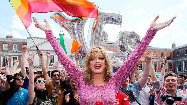 Panti Bliss and the crowd in Dublin Castle after the result of the marriage equality referendum was announced