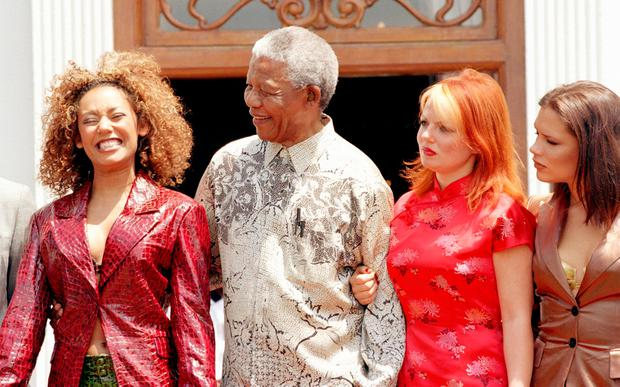 Nelson Mandela with The Spice Girls in 1997