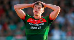 Diarmuid O'Connor of Mayo reacts after a missed goal chance during the GAA Football All-Ireland Senior Championship Round 3 match between Kildare and Mayo at St Conleth's Park in Newbridge, Kildare. Photo by Piaras Ó Mídheach/Sportsfile