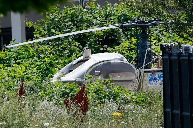 A French helicopter Alouette II abandoned by armed robber Redoine Faid after his escape from prison in Reau Photo: AFP/Getty Images