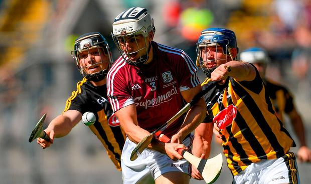 Daithí Burke of Galway is tackled by Walter Walsh,left, and Ger Aylward of Kilkenny during the Leinster GAA Hurling Senior Championship Final match between Kilkenny and Galway at Croke Park in Dublin. Photo by Ramsey Cardy/Sportsfile
