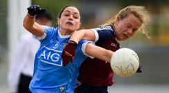 Sinéad Goldrick of Dublin in action against Jennifer Rogers of Westmeath during the TG4 Leinster Ladies Senior Football Final match between Dublin and Westmeath at Netwatch Cullen Park in Carlow. Photo by Piaras Ó Mídheach/Sportsfile
