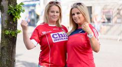 Sisters Ann-Marie Curtin and Paula Harnett from Charleville, Co Cork, in Thurles for the match. Photo: Don Moloney