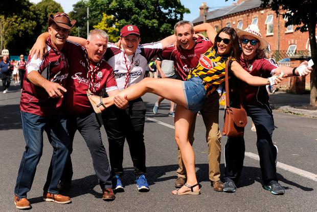 Lucinda Gahan, from Kilkenny, with Galway fans outside Croke Park. Photo: Caroline Quinn.