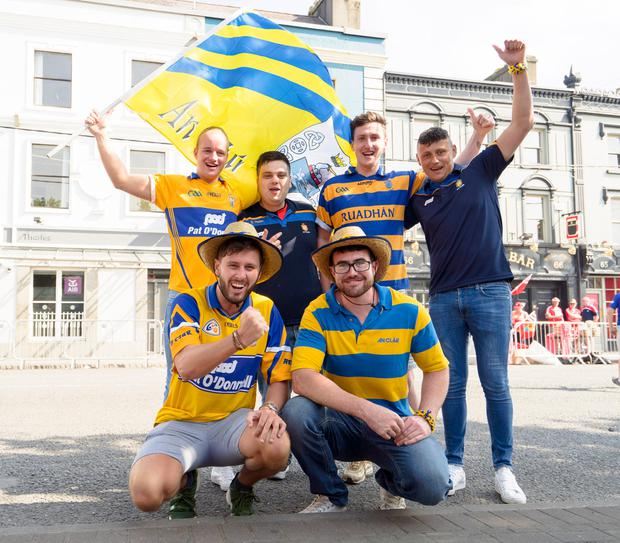 Clare fans Daithi O'Callaghan, Liam Coakley, Adam Mullins, Daniel Stack, Darragh Casey and Damien McDonnell from Ennis and Dysart. Photo: Don Moloney