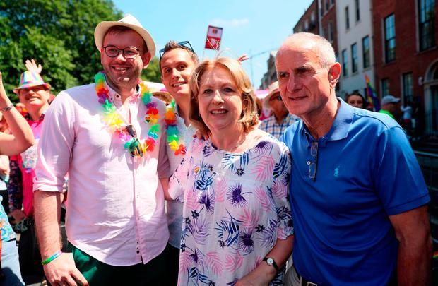 Former President Mary McAleese, husband Martin and their son Justin (second left) with his husband Fionan. Photo: Brian Lawless