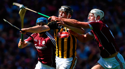 Walter Walsh of Kilkenny is tackled by Gearóid McInerney of Galway during the Leinster GAA Hurling Senior Championship Final match between Kilkenny and Galway at Croke Park in Dublin. Photo: Sportsfile