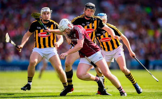 John Hanbury of Galway in action against Kilkenny players, from left, Liam Blanchfield, Walter Walsh and TJ Reid. Photo: Sportsfile