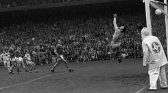Seamus Darby (left) scores Offaly's controversial last-minute winner in the 1982 All-Ireland final to crush Kerry's five-in-a-row dream. Photo: Sportsfile