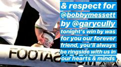 Gary Cully from Bray Boxing Club pays tribute to Bobby Messett, who was shot dead in Bray gym. Photo: Taylor made Boxing Gym Instagram