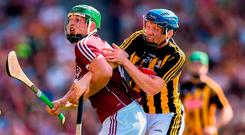 Galway's Niall Burke battles John Donnelly of Kilkenny for possession of the ball. Photo: Sportsfile