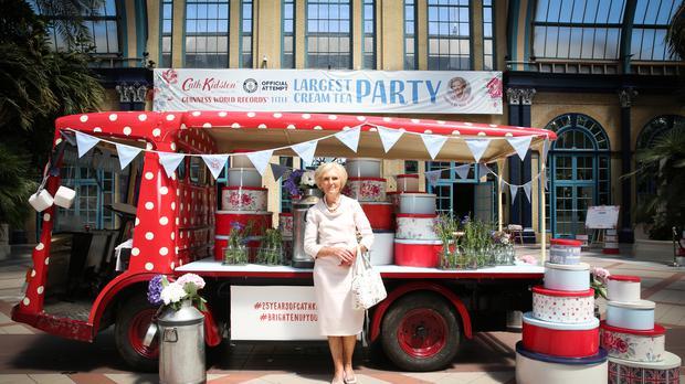 Mary Berry at the Cath Kidston largest cream tea party (PA)