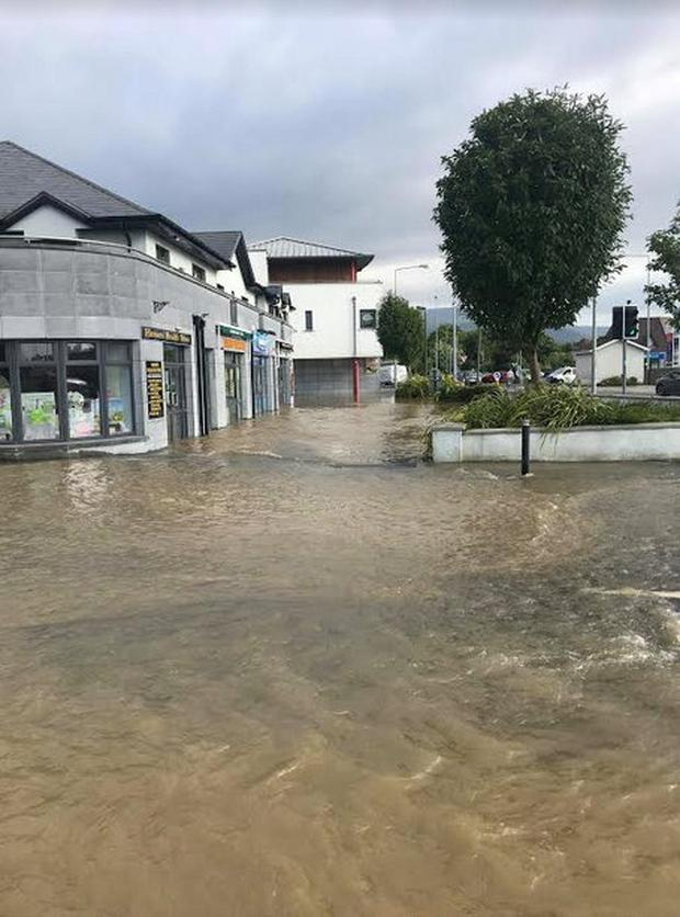 A major break in the main public water supply scheme from Killarney to Tralee caused the damage which occurred in the Deerpark area of town Photo: Liam Murphy