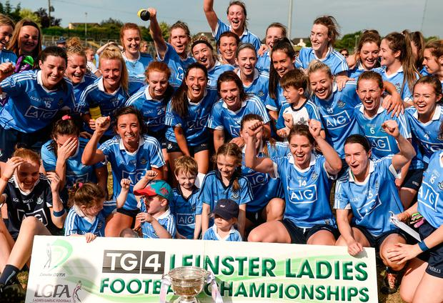 Dublin players celebrate after the TG4 Leinster Ladies Senior Football Final. Photo: Sportsfile
