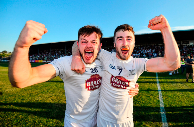 Paschal Connell, left, and Kevin Flynn of Kildare celebrate. Photo: Sportsfile