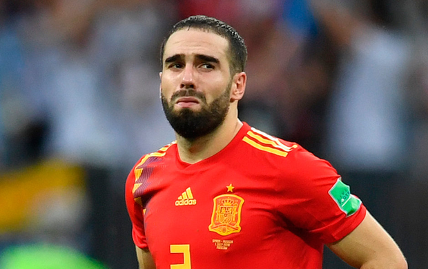 Spain's Dani Carvajal of Spain is left dejected after his side's loss. Photo: Getty Images