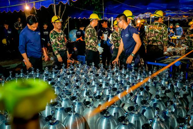 Scuba tanks are delivered to the site for Thai navy & SEAL. Photo by Linh Pham/Getty Images