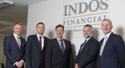 Left to right: Brendan McDonald, IDA's Regional Business Development Manager, South East Region, Michael Reddy, Manager, Depository Services, INDOS Financial, Minister Michael D'Arcy, Bill Prew, CEO of INDOS Financial & Denis Curran, IDA's Head of Financial Services pictured in INDOS new offices in Enniscorthy, Co. Wexford.