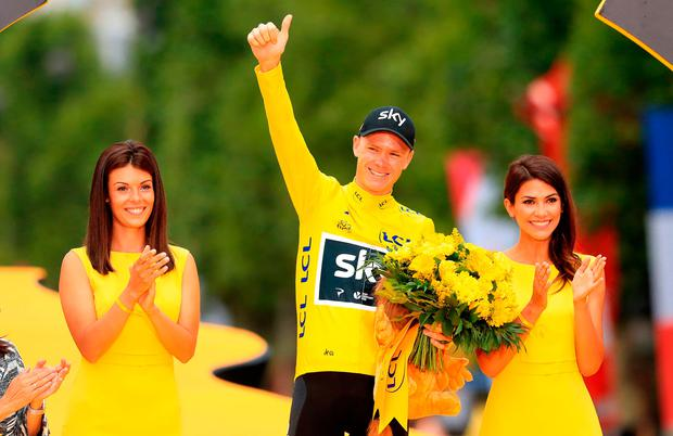 File photo dated 23-07-2017 of Team Sky's Chris Froome celebrates victory after stage 21 of the Tour de France in Paris, France. PRESS ASSOCIATION Photo. Issue date: Friday June 29, 2018. It is nine months since Froome returned an adverse analytical finding for the controlled substance Salbutamol en route to victory at La Vuelta last year, and seven months since news of the test result was leaked. See PA story CYCLING Tour Talking Points. Photo credit should read Adam Davy/PA Wire.
