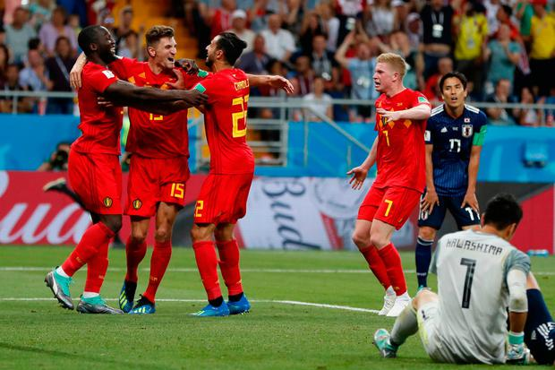 Belgium's Nacer Chadli, third left, celebrates with teammates after scoring their side's third goal during the round of 16 match between Belgium and Japan at the 2018 soccer World Cup in the Rostov Arena, in Rostov-on-Don, Russia, Monday, July 2, 2018. Chadli scored once in Belgium's 3-2 victory. (AP Photo/Natacha Pisarenko)