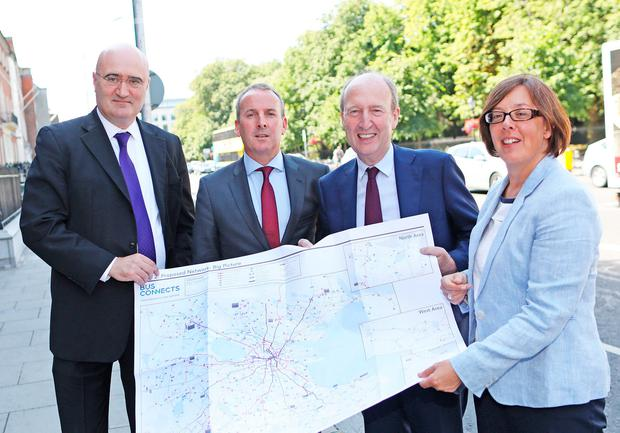 Pictured at the launch of the report today at the Royal Hibernian Academy are l-r, Jarrett Walker, Jarrett Walker and Associates; Ray Coyne, CEO, Dublin Bus; Minister Shane Ross, Minister for Tansport, Tourism and Sport and Anne Graham, CEO, National Transport Authority. Photo: Julien Behal Photography
