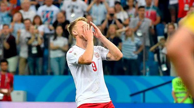Denmark's Nicolai Jorgensen reacts after his penalty miss